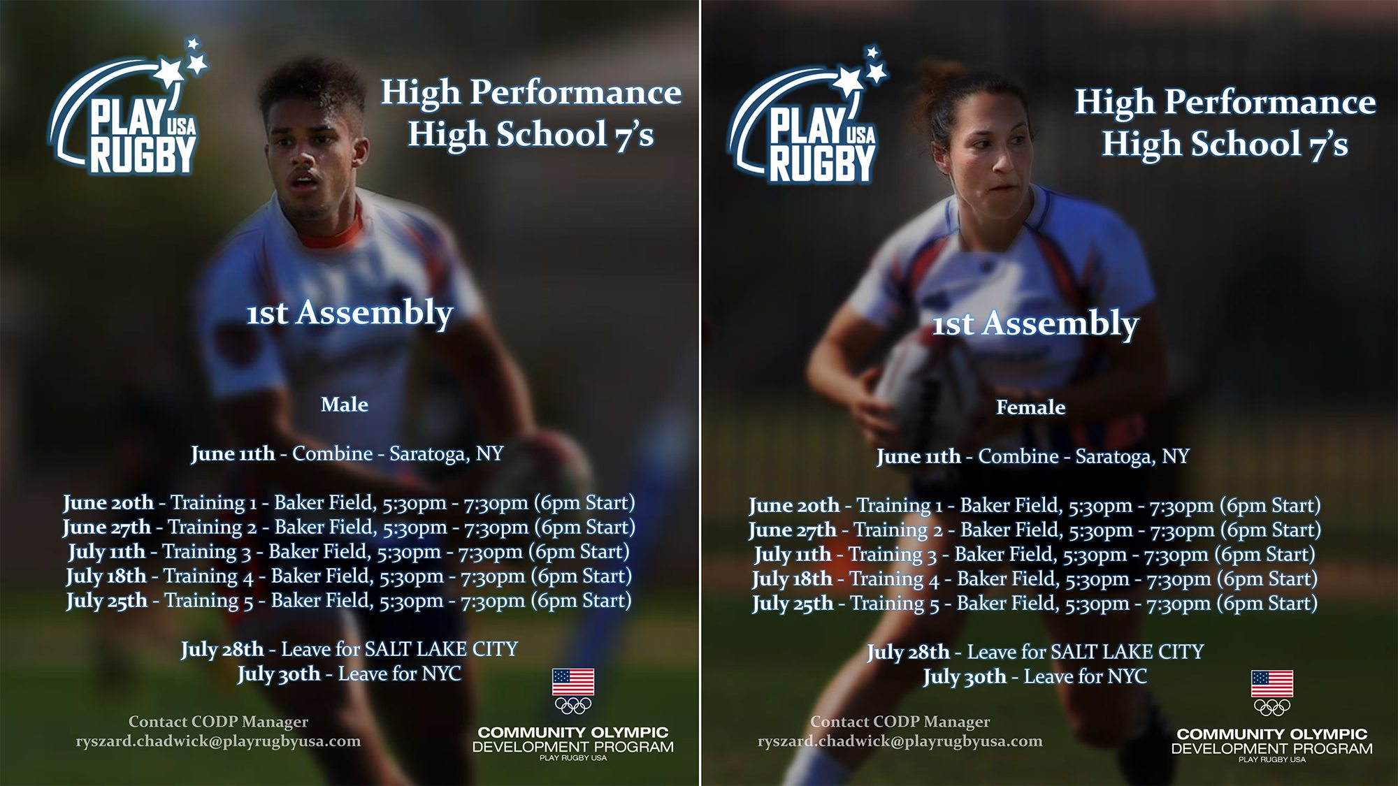 Boys and Girls High School Rugby Players Eligible for First Northeast Player Assembly