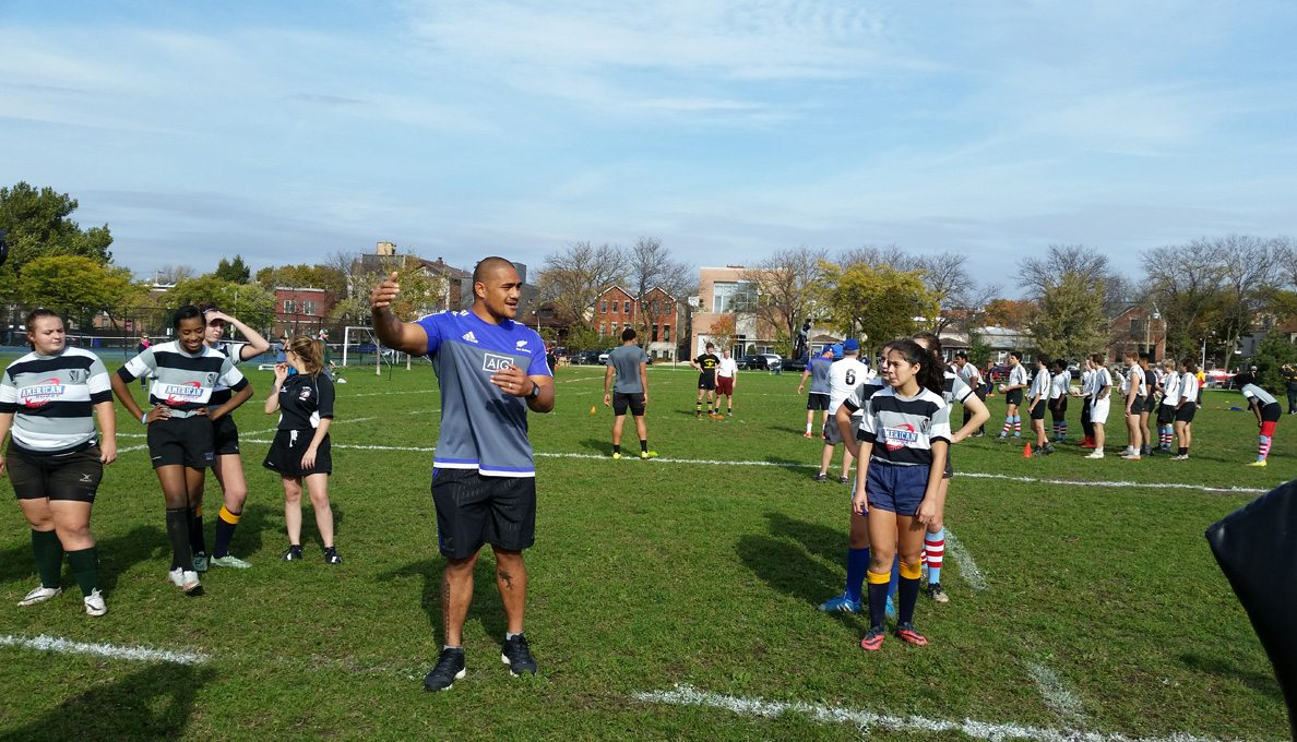 Youth in Illinois engaging with The Rugby Weekend Presented by AIG teams