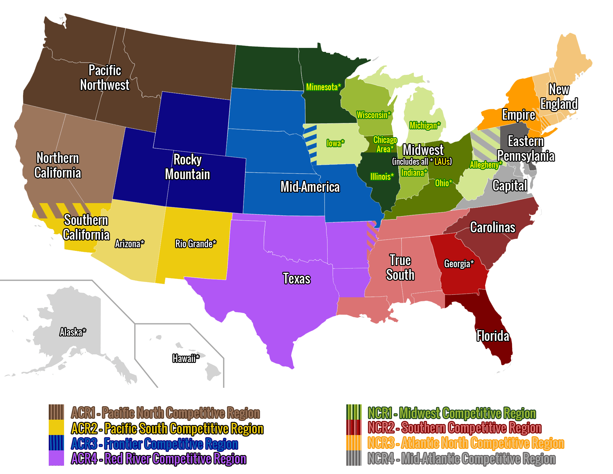 Geographical Unions USA Rugby - Us map midwest states