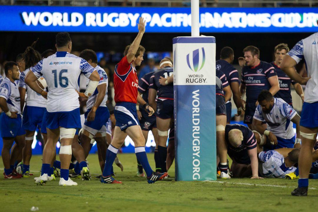 July 18, 2015; San Jose, CA, United States; The referee calls a try for the USA Eagles against Samoa during the second half of the World Rugby Pacific Nations Cup game at Avaya Stadium. Photo credit: Kelley L Cox - KLC fotos for USA Rugby